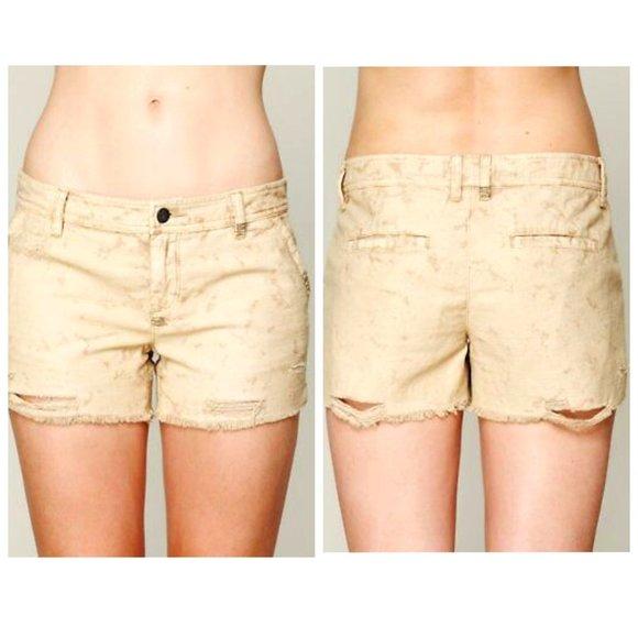 FREE PEOPLE Acid Wash Distressed Tan Shorts
